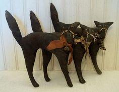 Primitive Grungy Set of Three Black Halloween Scaredy Cat Dolls  eBay ID: 3valentinos Facebook: https://www.facebook.com/BlackCatPrimitives/