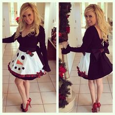 Bridget Marquardt in her Christmas 'Snowman' apron                              …