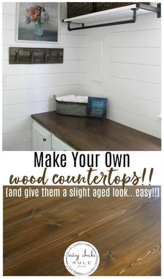 How To Make Your Own Wood Countertops (and give them a slight aged appearance too!!) artsychicksrule.com #woodcountertops #diywoodcountertop #fixerupperstyle #howtobuildcountertops