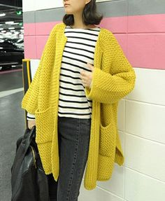 Oversized Cardigans with Chunky Knit and Pockets Detail