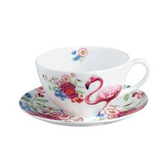 Bring luxury to after dinner drinks with this elegant Flamingo cup and saucer from Lou Rota. Handmade from indulgent fine bone china, this teacup and saucer is finished with an intricately detailed...