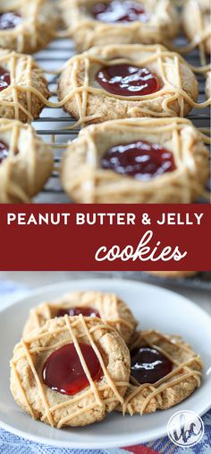 A classic flavor combination comes together in these Peanut Butter and Jelly Thumbprint Cookies #peanutbutter #jelly #cookie #recipe #dessert