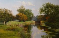 Rushes Lock, River Chelmer by Graham Petley Throughout The World, Impressionist, Graham, Britain, Mario, Country Roads, Paintings, River, Colour