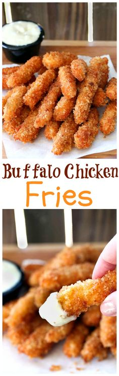 Crispy chicken fries with a hint of zesty buffalo sauce, perfect for dipping into fresh bleu cheese. A great meal or snack for kids and adults.