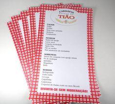 Cardápio folha simples em papel opaline 180gr para mesa Boteco med:15x25cm fazemos no tema que desejar. R$ 5,60