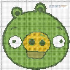Dibujos Punto de Cruz Gratis: Angry Birds Pig Cerdito - Punto de cruz