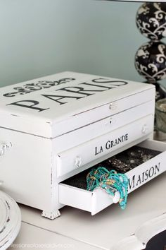 DIY Jewelry Storage - Paris Jewelry Box Makeover - Do It Yourself Crafts and Projects for Organizing, Storing and Displaying Jewelry - Earrings, Rings, Necklaces - Jewelry Tree, Boxes, Hangers - Cheap and Easy Ways To Organize Jewelry in Bedroom and Bathroom - Dollar Store Crafts and Cheap Ideas for Decorating http://diyprojectsforteens.com/diy-jewelry-storage