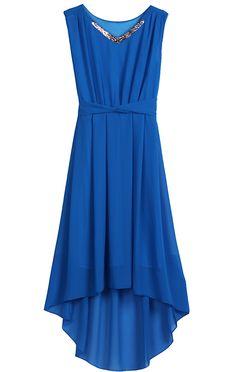 Blue V Neck Sleeveless Metal High Low Dress - Sheinside.com
