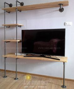 Compact TV shelf. Perfect for living room with smaller space. --------------------------------------------------------------- BANGKOK branch: facebook/pipedreamdeco Thai: 081-248-4893 English/日本語/普通話: 085-908-3450 Line ID: hiphippuzza Email: pipedreamdeco@gmail.com ----------------------------------------------------------------- HONG KONG branch: facebook/pipedreamdecohk Email: pipedreamdecohk@gmail.com Tel & Whatsapp: 9768-7748  Order made industrial pipe furniture and lighting system…