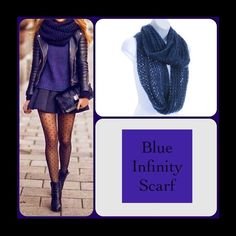 Dark Blue Infinity Scarf This gorgeous and warm scarf features tune sequins for special touch. 100% Acrylic. (This closet does not trade or use PayPal) Accessories Scarves & Wraps