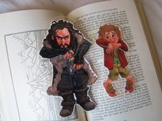 The Hobbit Thorin Oakenshield and Bilbo Baggins Pair of clip over bookmarks by FromMyHat on Etsy