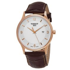 Tissot Men's T9144104601700 'T Gold' Dial Brown Strap Rose Gold Swiss Quartz Watch