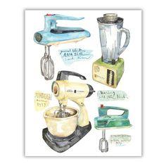 Vintage kitchen mixer and blender watercolor illustration.