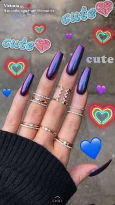 On average, the finger nails grow from 3 to millimeters per month. If it is difficult to change their growth rate, however, it is possible to cheat on their appearance and length through false nails. Perfect Nails, Gorgeous Nails, Pretty Nails, Purple Acrylic Nails, Purple Nails, Tumblr Acrylic Nails, Holographic Nails Acrylic, Long Nails, My Nails
