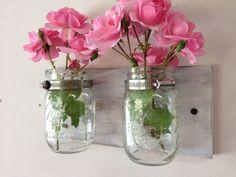 Cottage chic mason jar vase mason jar planter by TreetopWoodworks, $26.00