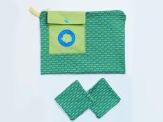 Trousse bébé + 2 lingettes lavables * tissu bio * personnalisable : Puériculture par marina-rouze