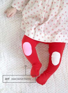 Kids literally crawling through their baby clothes? Use this DIY trick to paint knee patches onto tights and to make sure those tights last a little bit longer.
