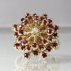 Vintage Ruby And Diamond Ring Size 6.75 14K by GregDeMarkJewelry