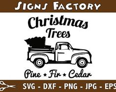 Red Christmas Truck Svg Cut File Antique Vector Tree
