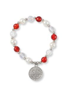 """St. Benedict 0.71"""" Medal Bracelet with Red and AB Clear Crystals. Assembled in the U.S.A. Religious Gallery. $8.99. Glass Pearl Beads. Made in Brazil. Elastic. 0.71'' St. Benedict Medal. Red Crystal Beads"""