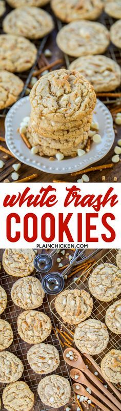 White Trash Cookies - cookies loaded with white chocolate chips, toffee bits and pretzels. Sweet & salty in every bite. Copycat recipe of my favorite cookie at a local bakery. These are DANGEROUSLY delicious! These cookies never last long in our house! #cookies #whitechocolate #chocolatechipcookies Chocolate Chip Recipes, Chocolate Desserts, Chocolate Chips, Chocolate Chip Cookies, White Chocolate, Brownie Recipes, Delicious Cookie Recipes, Yummy Cookies, Yummy Treats