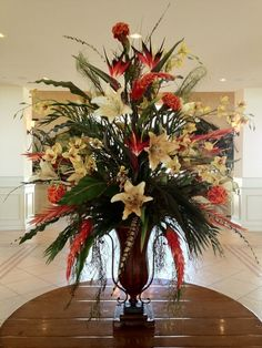 Best Faux Floral Arrangements For Home Decoration: Beautiful Faux Flower Arrangements For Your Home Decoration -like the look, not the colors so much Tropical Flower Arrangements, Flower Arrangement Designs, Artificial Floral Arrangements, Beautiful Flower Arrangements, Beautiful Flowers, Silk Arrangements, Fake Flowers, Artificial Flowers, Exotic Flowers