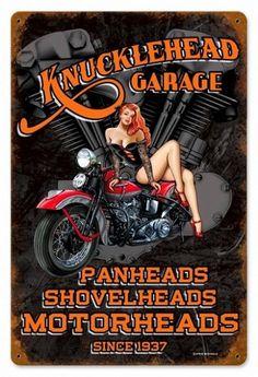Knuckle Garage Vintage Metal Sign