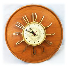Mid Century Telechron Wallwood Wall Clock - perfect for Don Draper's Den.