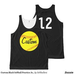 Custom Black Softball Practice Jersey #softball
