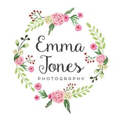 Floral Wreath Logo - Customized with Your Business Name! Logo Couronne, Pop Up Window, Wreath Drawing, Floral Logo, Flower Frame, Business Names, Unicorn Party, Botanical Illustration, Watercolor Flowers