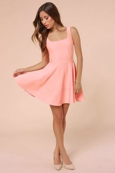Pretty Peach Dress - Skater Dress - Pink Dress - $42.00