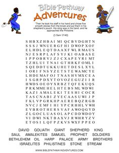 A Word Search Puzzle For Kids From The Story Facing Giant