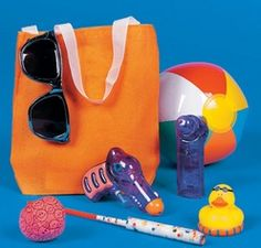 Pool Party Filled Treat Bags.  Jump into summertime fun by giving your pool party swimmers these gift bags. Already full of popular poolside and water toys such as beach balls, rubber duckies and more, these treat sacks will really make a splash with guests. Each canvas bag contains 7 assorted gift items.