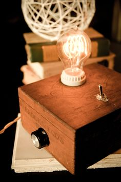 Adam Satchel Cigar Box Lamp (I made one of these from a cardboard box for a haunted house. It worked great - I'm trying to keep my eye out for some nice wooden boxes to make a good one.)