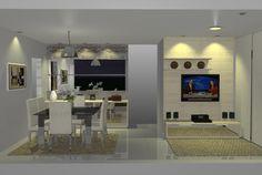 Projeto da Sala de Jantar e Estar de um casal de clientes. Vista Frontal. Feito no Promob.