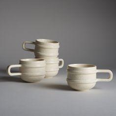 Handsome hand-glazed slipcast stoneware mugs handmade in Los Angeles, California. #coffee