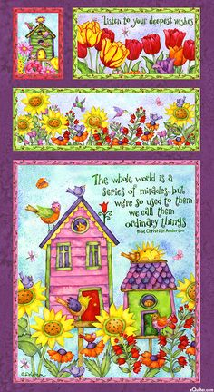 "Birdhouse Garden - Sunshine & Miracles - 24"" x 44"" PANEL"