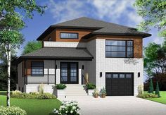 You'll marvel at the beauty of this modern two-story home plan, built on multiple levels. Double doors open to an air-lock entry with a coat closet.