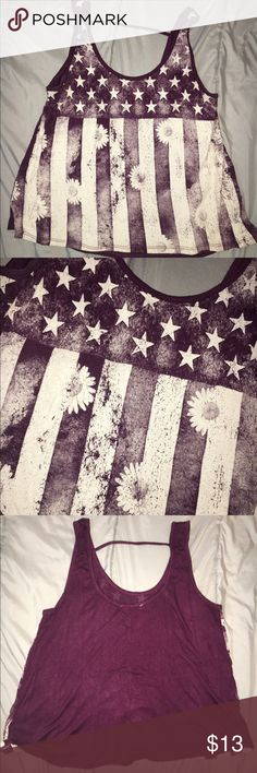 American flag sunflower tank top sz M Burgundy Charlotte Russe American flag sunflower tank top size medium.                           Don't be shy to make an offer, accepting reasonable ones!! Charlotte Russe Tops Tank Tops