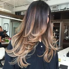 black brown caramel balayage