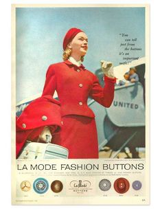 ButtonArtMuseum.com - You Can Tell Just From the Buttons Its an Important Outfit!  La Mode Magazine Ad from November 1956