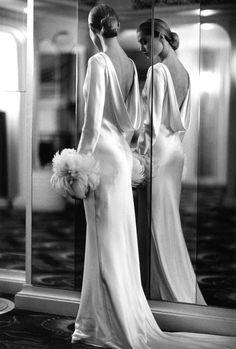 beautiful draping (favorite type of wedding gown)