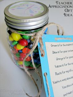 Teacher Appreciation Jar with printable tag #kids #school #teacher #gifts