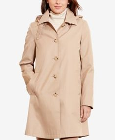 Lauren Ralph Lauren Hooded Single-Breasted A-Line Raincoat, Only at Macy's #RaincoatsForWomenShoes