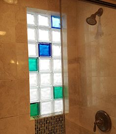 Using colored and frosted glass blocks can add a unique style and freshness to your design. At Innovate Building Solutions, we offer 104 standard and frosted colors for any window, wall or shower project. Glass Block Windows, Glass Blocks, Bathroom Glass Wall, Frosted Glass Window, Retro Bathrooms, Vintage Home Decor, Home Renovation, Window Treatments, New Homes