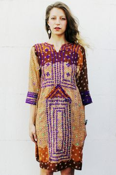 Brown and Purple Afghani Dress by TavinShop on Etsy