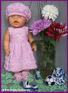 "Платье на беби-борн с узором ""Мотыльки"" - http://www.moda-kukla.ru/index.php?option=com_content&view=article&id=91:2012-08-14-07-44-12&catid=8:knitting1"