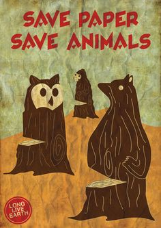 'save paper, save animals' by nigel tan - endangered species graphic design competition