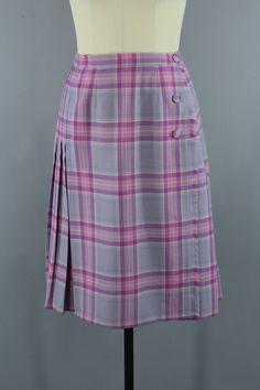 Vintage Lavender Pink Plaid Wool Kilt Skirt by Surrey Classics