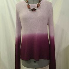 Olivaceous»ombre hi-lo knit crew Lilac/purple ombre sweater. Lightweight and semi-sheer knit. Very minor pilling on front (see pics), but not very noticeable. Price reflects. Medium true to size. Never worn. Good layering piece. Olivaceous Sweaters Crew & Scoop Necks